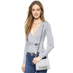 DVF charcoal gray ballerina wool wrap sweater 0/P
